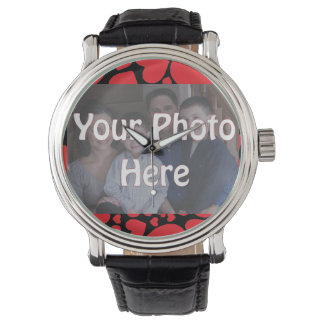 Your Photo Here with Multi Red Heart Background Wrist Watch