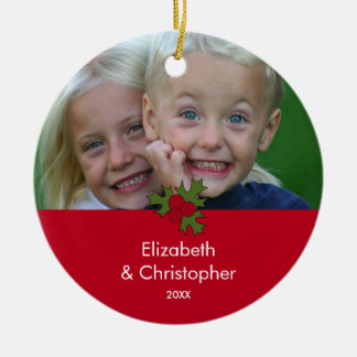 Your Photo Holly Frame Christmas Ornament