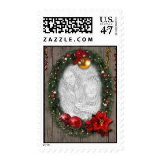 Your Photo in a Christmas Wreath Postage