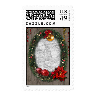 Your Photo in a Christmas Wreath Stamps