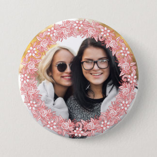 YOUR PHOTO in a Flower Wreath Frame button
