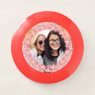 YOUR PHOTO in a Flower Wreath Frame frisbee