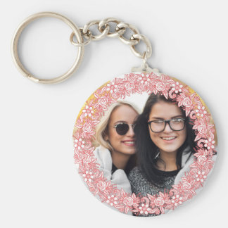YOUR PHOTO in a Flower Wreath Frame key chains