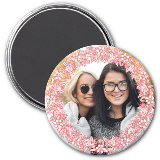 YOUR PHOTO in a Flower Wreath Frame magnet