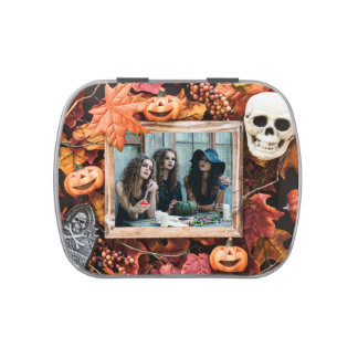 YOUR PHOTO in a Halloween Frame candy tin