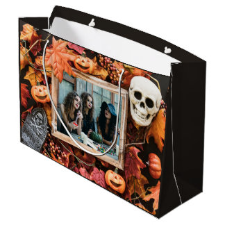 YOUR PHOTO in a Halloween Frame large gift bag