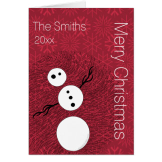 Your Photo Inside Black And White Snowman Holiday Stationery Note Card