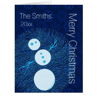 Your Photo Inside Blue Cartoon Snowman Christmas Large Greeting Card