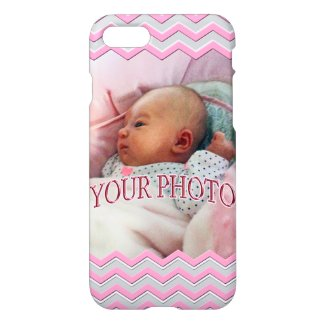 Your Photo iPhone Cases Pretty Pink, Gray Chevron