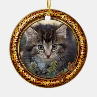 Your Photo Kitty Keepsake Christmas Ceramic Ornament
