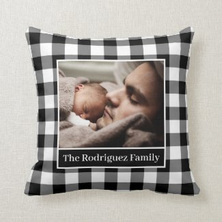 Your Photo Name Black White Gingham Pattern Border Throw Pillow