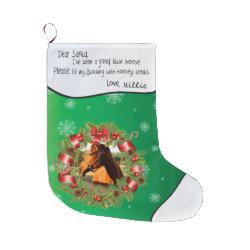 YOUR PHOTO Name Horse Dear Santa Round Frame Green Large Christmas Stocking