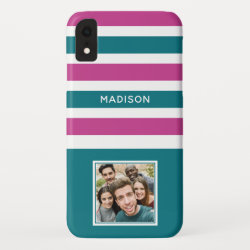 YOUR PHOTO & NAME Stripes Pattern phone cases