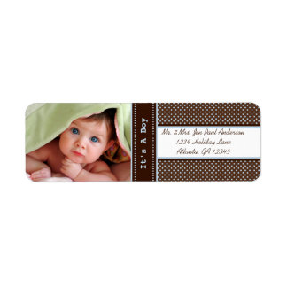 Your Photo New Baby It's A  Boy Brown & Blue Dots Label