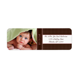 Your Photo New Baby It's A  Girl Brown & Pink Dots Return Address Label