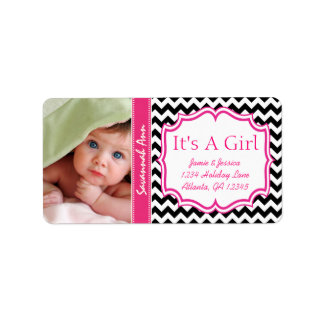 Your Photo New Baby Its A Girl PINK Trendy Zig Zag Label
