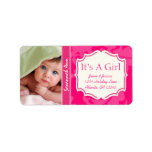 Your Photo New Baby Its A Girl PINK Vintage Floral Custom Address Labels