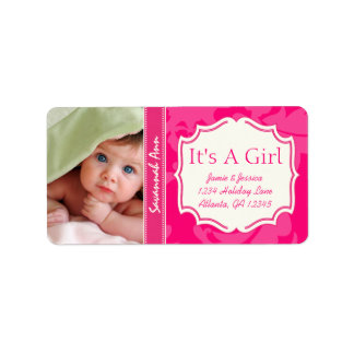 Your Photo New Baby Its A Girl PINK Vintage Floral Label