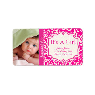 Your Photo New Baby It's A Girl Vintage Floral Label