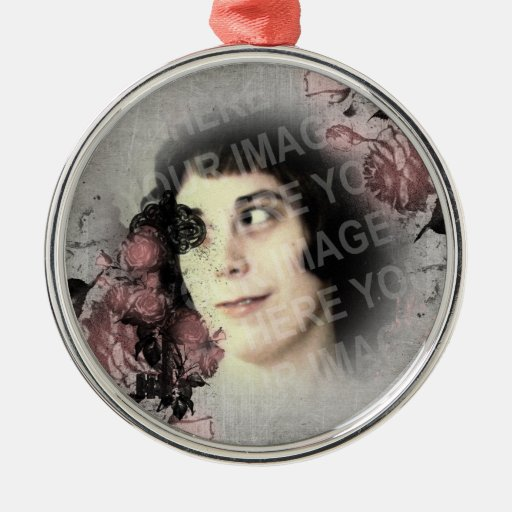 Your Photo Old Key And Roses Metal Ornament