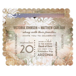Your Photo on Back Rose Gold Heirloom Wedding Card