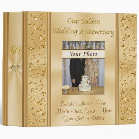 Your Photo on Gold 50th Wedding Anniversary Album 3 Ring Binder
