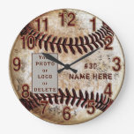 Your Photo or Logo Personalized Baseball Clock