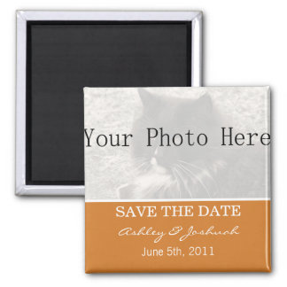 Your Photo- Orange Save The Date Magnets
