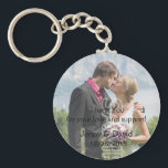 "Your Photo Personalized Key Ring Wedding Favor<br><div class=""desc"">Wedding favor keychain features a photograph of beautiful newlywed couple. Template text for you to customize with wedding date,  bride and groom&#39;s names and a thank you message to wedding guests. Discounts are available for bulk orders.</div>"