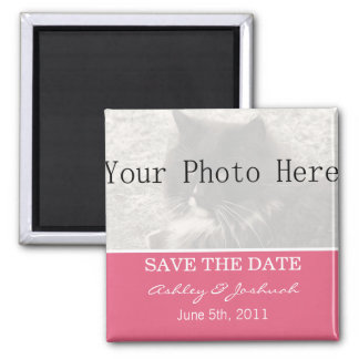 Your Photo- Pink Save The Date Magnets