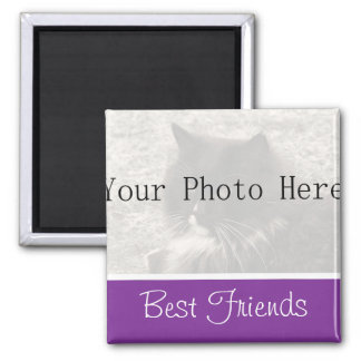 Your Photo- Purple Best Friends Magnet