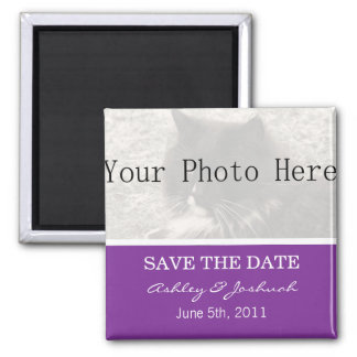 Your Photo- Purple Save The Date Magnets