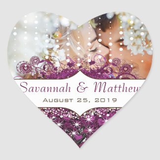 Your Photo  Radiant Purple Heart Leaf Tree Wedding Heart Sticker