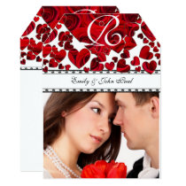Your Photo Red Heart Roses Wedding Invitation