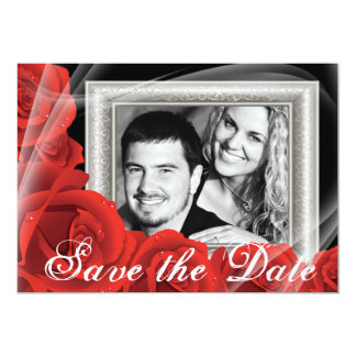 Your Photo Red Rose Wedding Save the Date Cards Custom Announcements