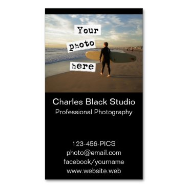 Professional Business Your Photo Simple Black Business Card Template