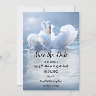 Your Photo Swan Lake Save the Date Card