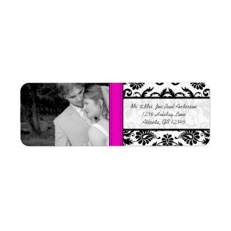 Your Photo Wedding Fuchsia Vintage Damask Return Address Label