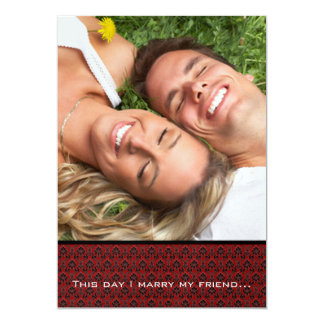 Your Photo Wedding Invite- I marry my Friend-Red Card