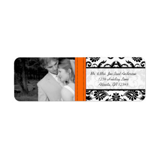 Your Photo Wedding Orange Crush  Vintage Damask Return Address Label