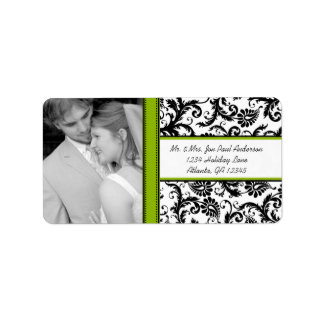Your Photo Wedding Vintage Apple Green Damask Address Label