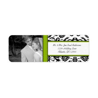 Your Photo Wedding Vintage Apple Green Damask Label