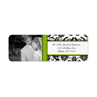 Your Photo Wedding Vintage Apple Green Damask Return Address Label