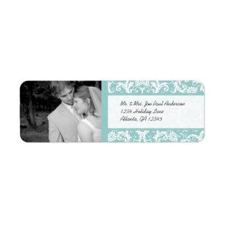 Your Photo Wedding Vintage Damask Aqua Blue Return Address Label