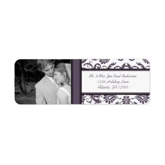 Your Photo Wedding Vintage Eggplant Damask Return Address Label