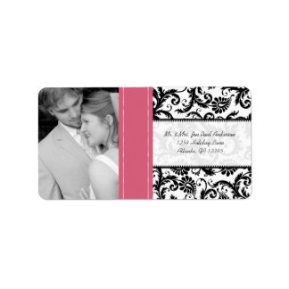 Your Photo Wedding Vintage Honeysuckle Damask Address Label