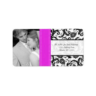 Your Photo Wedding Vintage Hot Pink Damask Address Label