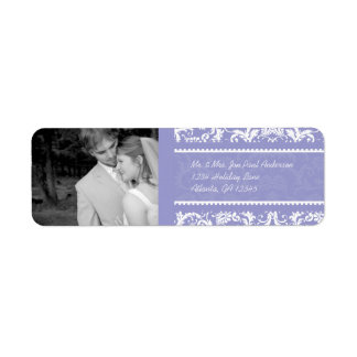 Your Photo Wedding Vintage Lilac Damask Label