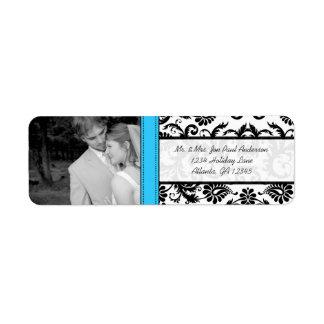 Your Photo Wedding Vintage Lite Bright Aqua Damask Label