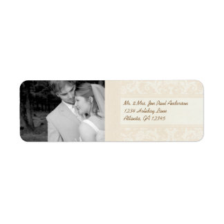 Your Photo Wedding Vintage Peony Damask Label